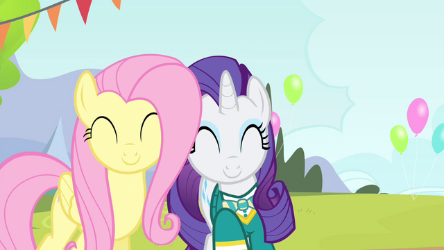 File:Fluttershy and Rarity smiling S4E14.png