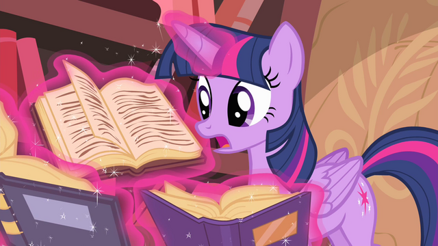 File:Twilight trying to find spell to cure Discord S4E11.png