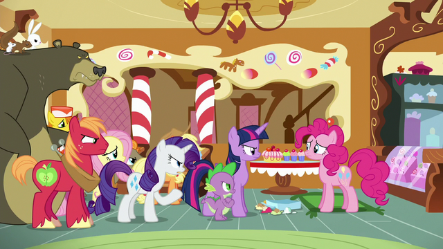 File:Ponyville ponies talk to Pinkie about Rainbow S6E15.png