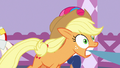 Applejack gets pulled along with Starstreak's fabric S7E9.png