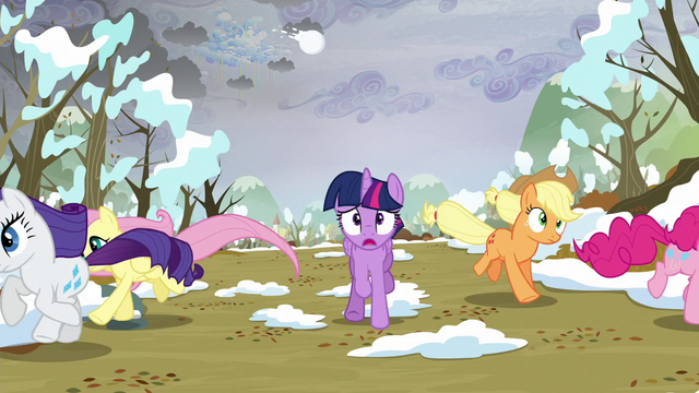 File:Main ponies running away from the snow S5E5.png