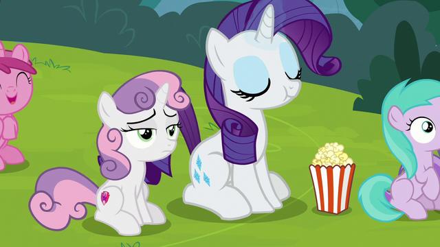 File:Rarity eating popcorn; Sweetie Belle still bored S7E6.png
