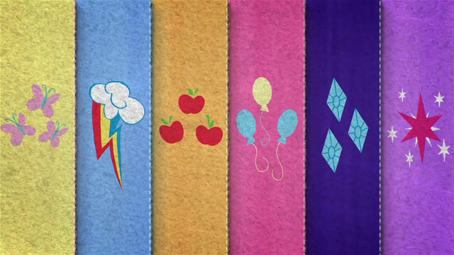 File:Felt row of Mane Six's cutie marks BFHHS4.png