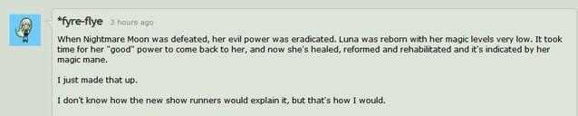 File:Lauren Faust on Princess Luna's new look.jpg