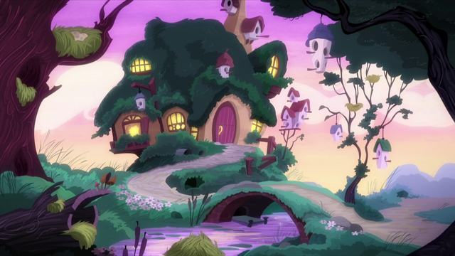 File:Fluttershy's cottage at sunrise S5E3.png