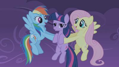 Fluttershy and Rainbow Dash catch Twilight S01E02