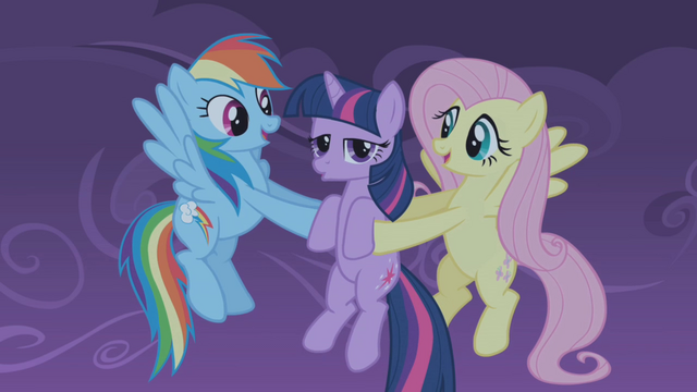 File:Fluttershy and Rainbow Dash catch Twilight S01E02.png