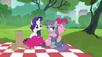 Pinkie Pie gives Maud a big hug S6E3