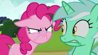 Pinkie Pie glaring at Lyra Heartstrings S7E4