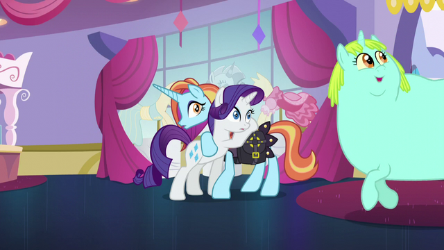 File:Rarity and Sassy looking at Incidental Pony S5E14.png