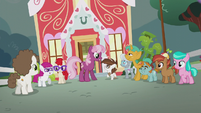 Cheerilee talking with foals outside school S5E18