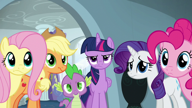 File:Main five and Spike looking annoyed S6E7.png