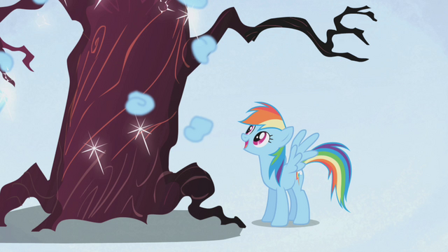 File:Rainbow Dash laughing at a tree S1E02.png