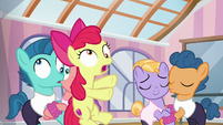 Apple Bloom crashes into pair of foals S6E4