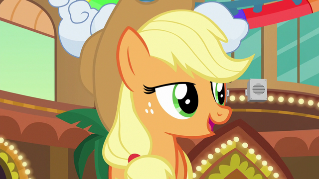 "File:Applejack ""show even those two con-ponies kindness"" S6E20.png"