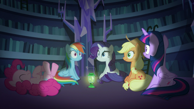File:All but Pinkie hear Fluttershy S5E21.png