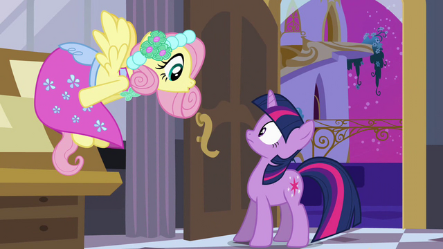 File:Fluttershy greets Twilight in her dress S2E25.png