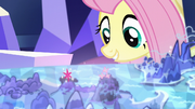 Fluttershy looking at Smokey Mountains landmark S5E23