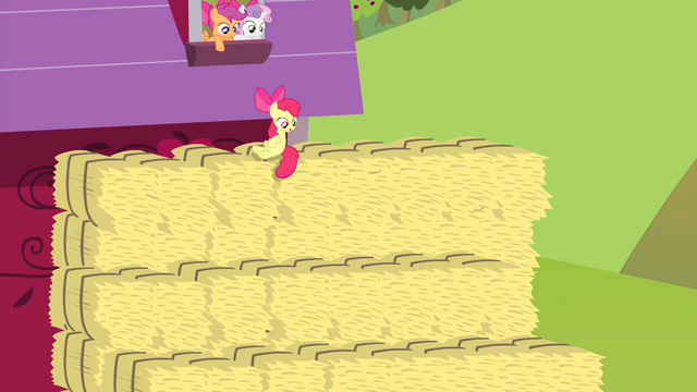 File:Apple Bloom on hay bale looking S4E17.png