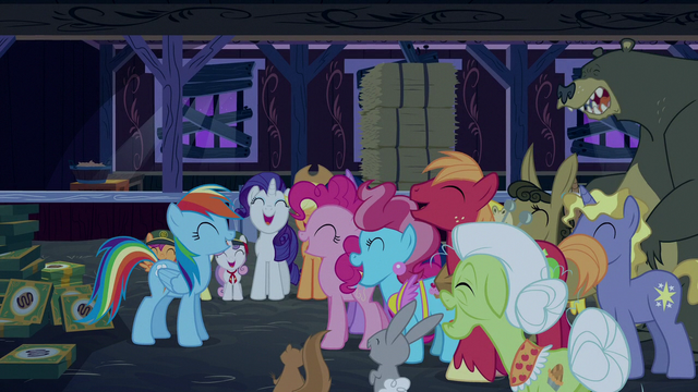 File:Rainbow and ponies laughing together S6E15.png