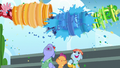 Wonderbolts shower Bow and Windy with rainbow water S7E7.png