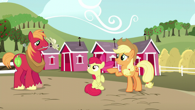File:Applejack points Apple Bloom to Big Mac S5E17.png
