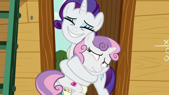 File:Rarity hugging Sweetie Belle tightly S7E6.png