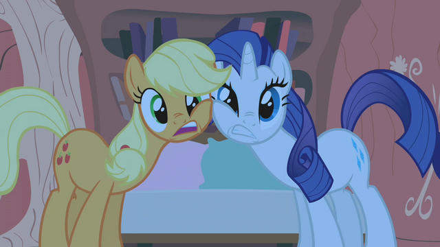 File:Rarity and Applejack rubbing faces S1E8.png