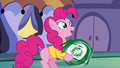 Pinkie happily spinning the arrow sign S6E12.png