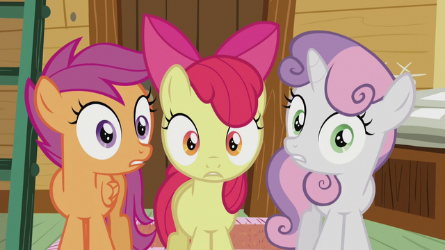 "File:Cutie Mark Crusaders shocked ""we are?!"" S5E18.png"