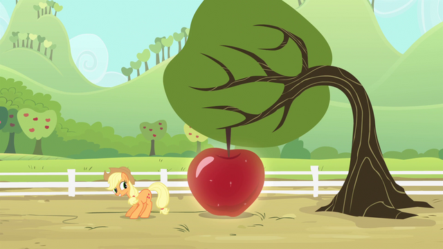 File:Applejack smiling at the apple S4E7.png