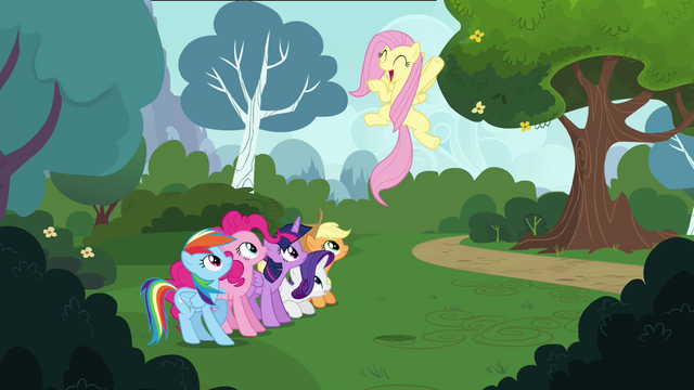 "File:Fluttershy shouting ""perfect!"" S4E16.png"