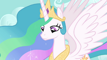 Princess Celestia looks down at Twilight S03E10