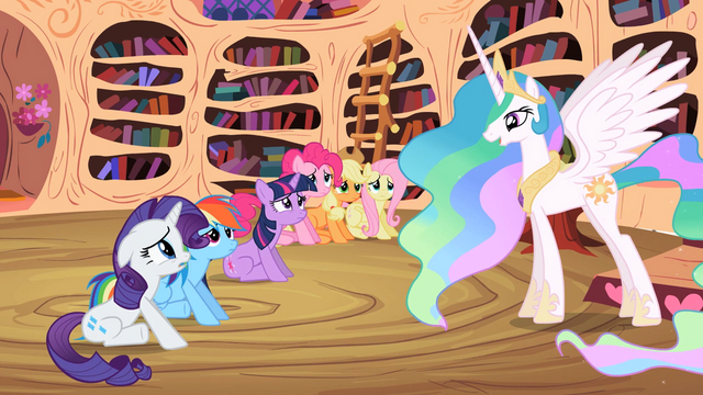 File:Main ponies unhappy in front of Celestia S2E3.png