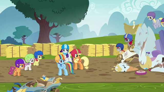 File:Rarity, AJ, and Dash look at other racers again S6E14.png