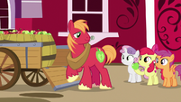 Apple Bloom giving dropped apple to Big Mac S7E8