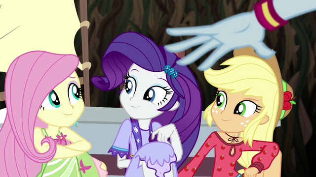 File:Fluttershy, Rarity, and AJ agree with Rainbow EG4.png