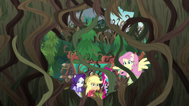 File:Equestria Girls look at the large opening in the wall EG4.png