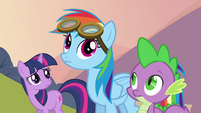 Twilight and Spike looking at Rainbow S2E22