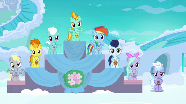 File:Filly Rainbow in second place at award ceremony S7E7.png