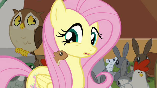 File:Squirrel in Fluttershy's mane S4E01.png