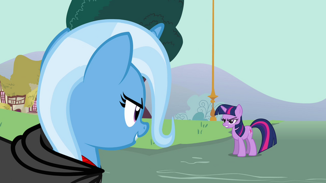 File:Trixie and Twilight Sparkle having a stare contest S3E5.png