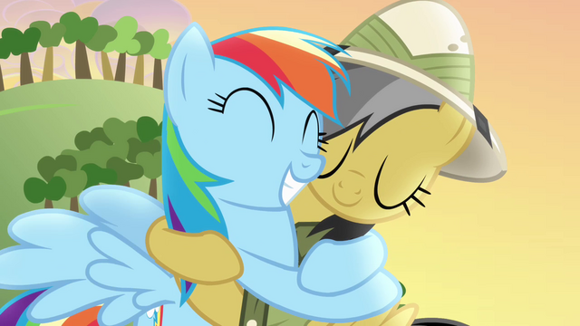 File:Daring Do hugs Rainbow Dash back S4E04.png