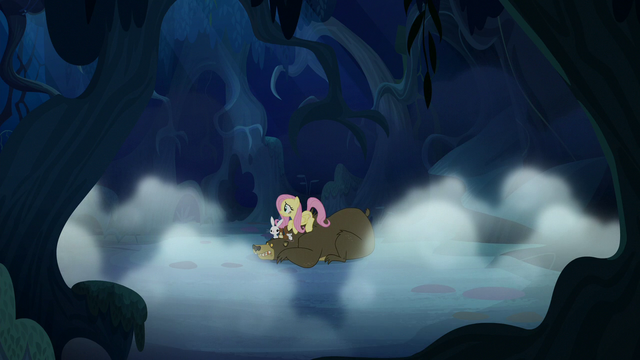 File:Distance view of Fluttershy and her animals S6E15.png