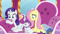"Rarity ""loving the print on those!"" S7E5"