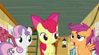 Apple Bloom and Sweetie Belle listening to Scootaloo S6E4