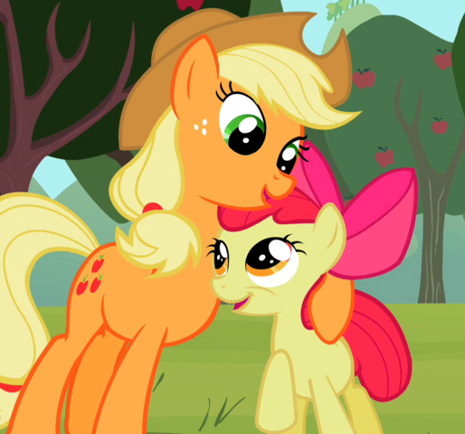 File:Applejack and Apple Bloom looking at each other S2E05.png