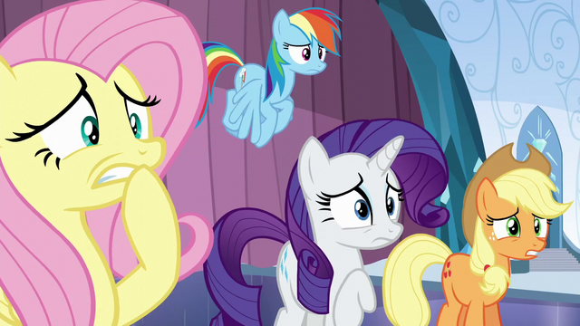 File:Fluttershy, Rainbow, Rarity, and AJ worried S6E2.png
