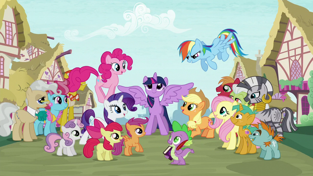 File:Supporting characters gather around Twilight S5 opening.png