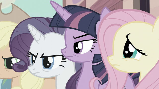 File:Twilight, Rarity, and AJ angry while Fluttershy is worried S5E02.png